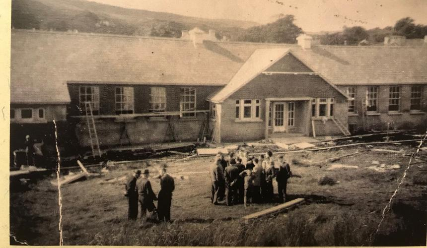 Work is ongoing in 1956 constructing the school.